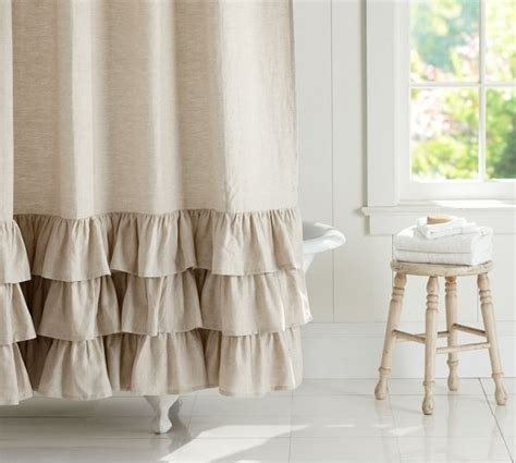 ruffles shower curtain linen ruffle shower curtain pottery barn client m