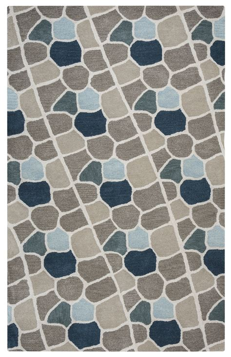 Area Rugs Ta with Valintino Striped Mosaic Wool Area Rug In Gray Blue Navy 8 X 10