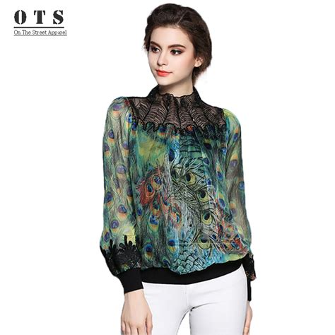 Blouse Printing Monogram aoxuer autumn blouses vintage printed sleeve peacock feather printing embroidery