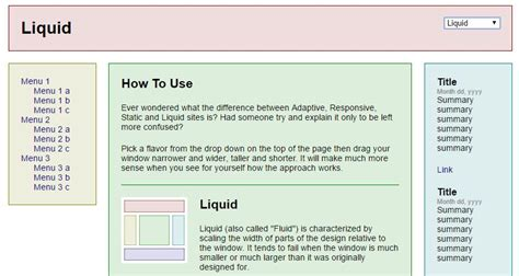 liquid layout exles what is the difference between fluid responsive and