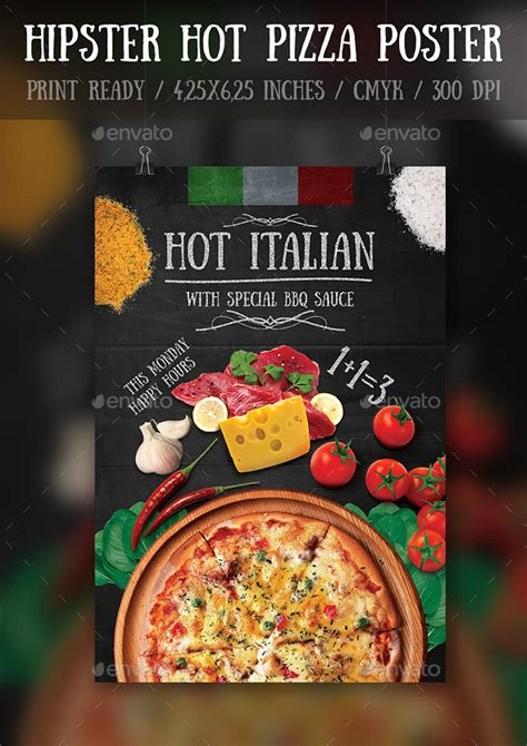 template flyer for pizza hipster hot pizza party flyer poster template pizza