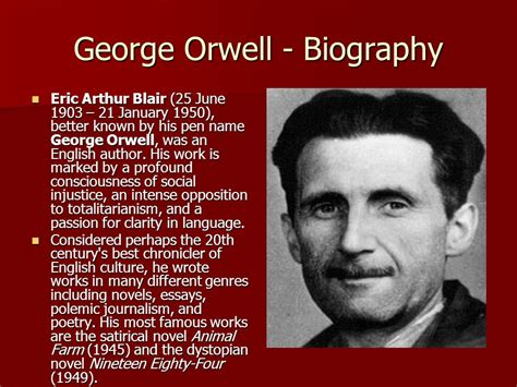 Biography George Orwell | a hanging george orwell ppt download
