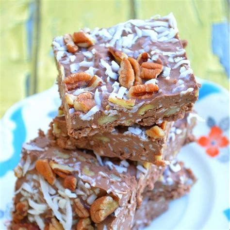 12 Ingredients And Directions Of German Chocolate Coconut Bars Receipt by German Chocolate Cake Fudge 6t Cocoa Powder 1c Pecans