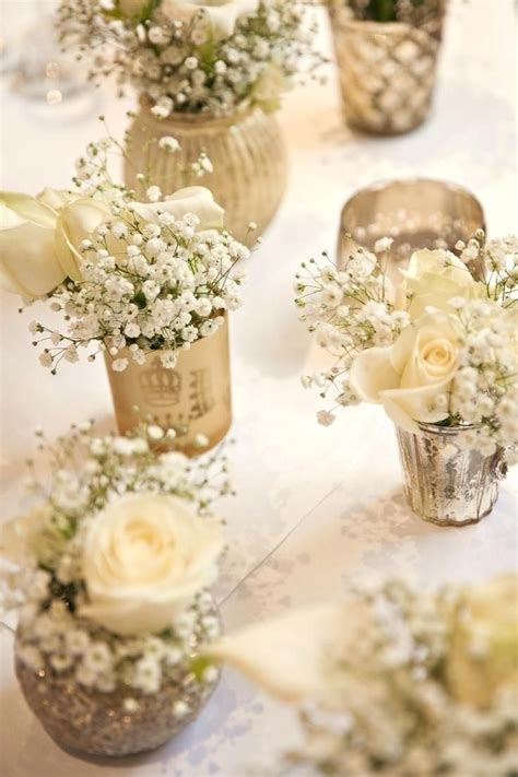 gold white flowers baby breath tables centrepiece classic