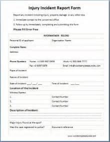 Injury Incident Report Template by Official Injury Incident Report Form Template Formal