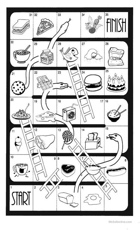 snakes and ladders food worksheet free esl printable