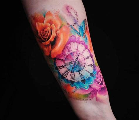 watercolor tattoo after time 1000 ideas about clock tattoos on time