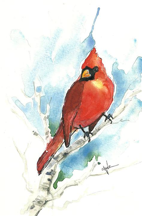 male cardinal painting by christine camp