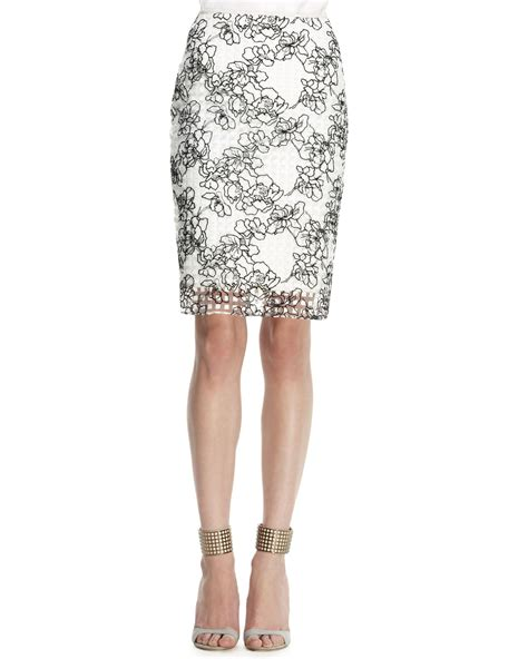 reed krakoff embroidered grid pencil skirt in black white