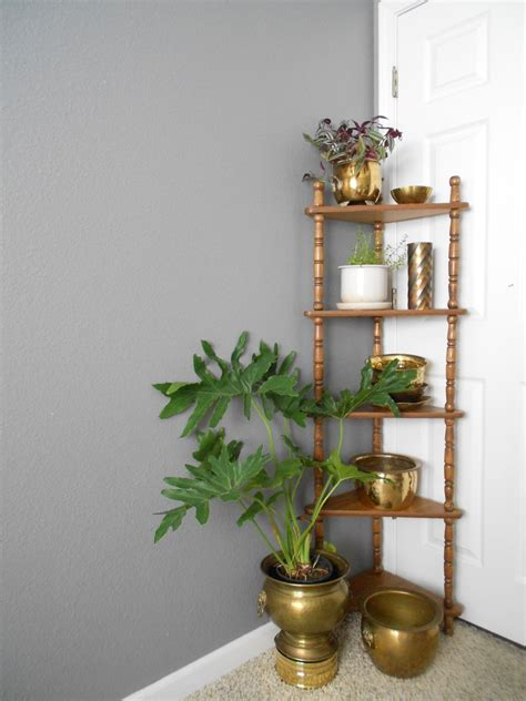 five tiered wooden corner shelf plant stand wall