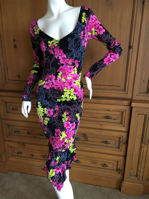 vintage versace couture tropical floral dress xs for