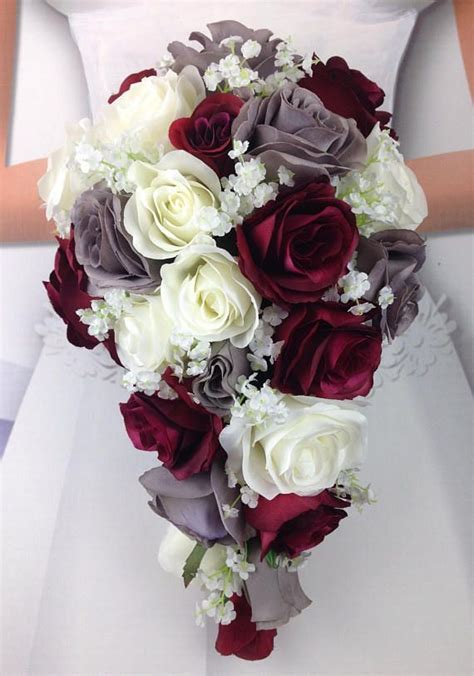 New Artificial Burgundy, Gray, and White Wedding Flowers