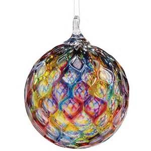 hand blown faceted rainbow glass hanging ornament