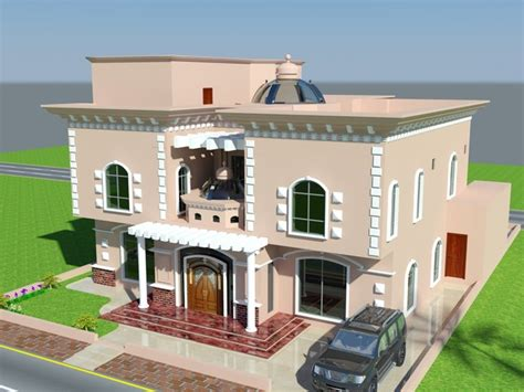 beautiful luxury saudi arabian villa 3d front elevation