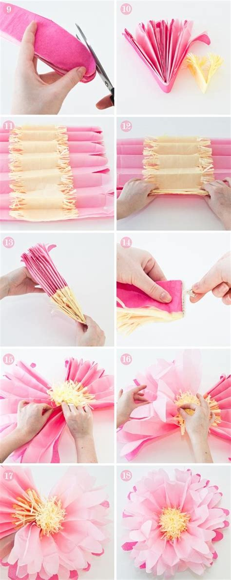 How To Make Large Tissue Paper Flowers - diy pink large tissue paper flowers tutorial 1919762