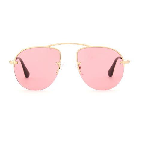 Tas Prada Teddy 5 lyst prada teddy aviator style sunglasses in metallic