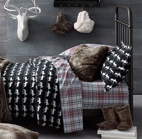 moose bedding plaid flannel cabin and cozy winter on pinterest