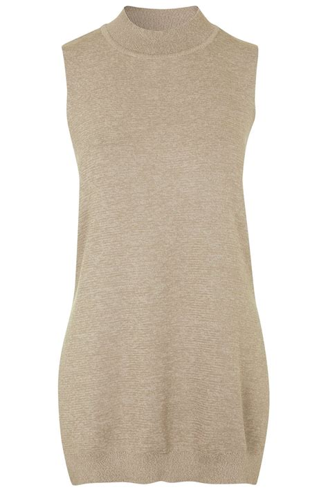 sleeveless two tone knit top