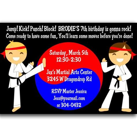 printable birthday cards karate martial arts karate birthday party invitations 5th