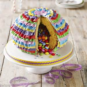 How To Decorate For A Birthday Party At Home by Pinata Cake With Sponge Outside And Sweets Inside Is New