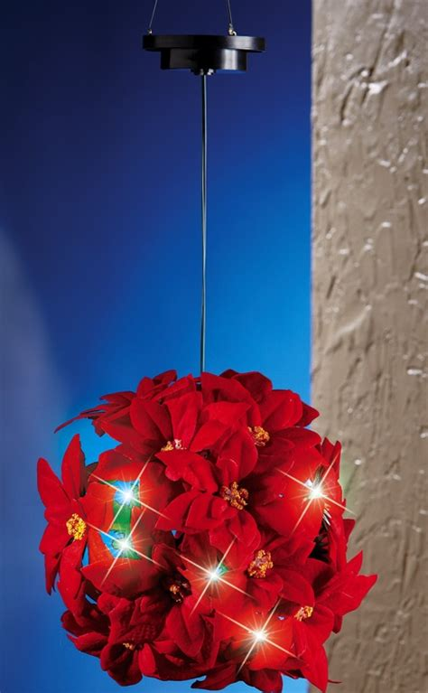 solar hanging poinsettia ball holiday decoration christmas