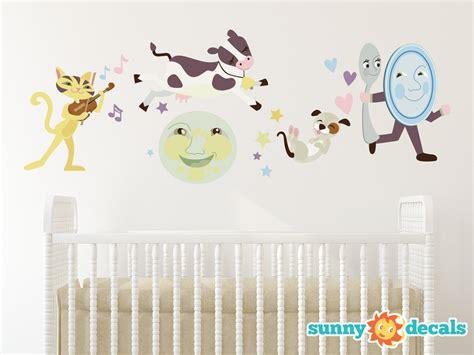 Nursery Rhyme Fabric Wall Decal Hey Diddle Diddle The Cat Fabric Wall Decals For Nursery