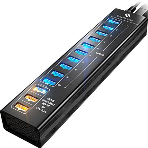 Lu Belajar Usb 13led smartdelux 13 port aluminum usb hub with 10 usb 3 0 ports and 3 smart charging ports leds 60