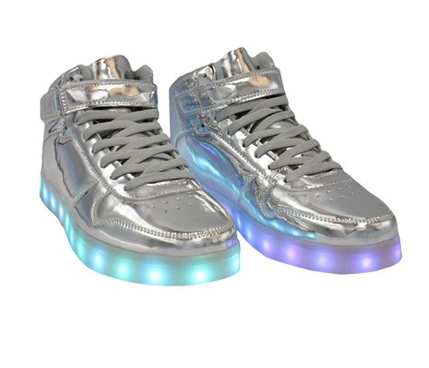 Shoes Glossy Led gagalaxy led shoes high top light up sneakers for and silver glossy back to the