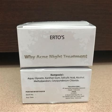 ertos  acne night cream original bpom pusat stokis
