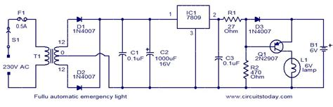 circuit diagram of simple emergency light circuit and