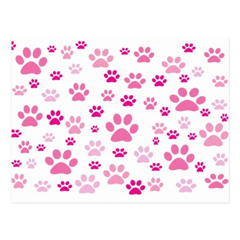 pink pattern girly cute girly pink paws pattern postcard zazzle