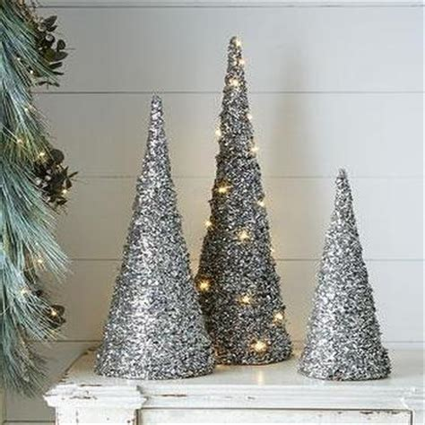 silver sparkling mesh beaded cone tree white pearl cone three set trees