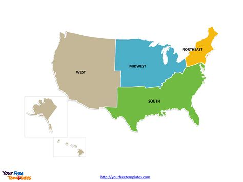 map of us states by region free usa region powerpoint map free powerpoint templates