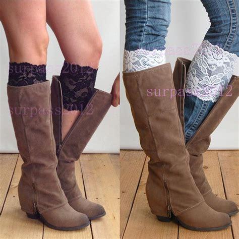 making boat legs stretch lace boot cuffs women girls leg warmers trim