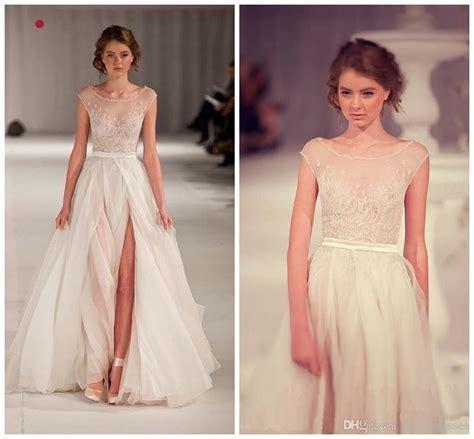 Cheapest Elie Saab A Line Wedding Dresses Sheer Scoop