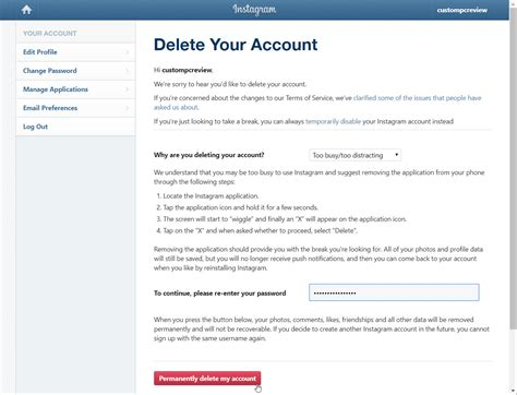 delete account how to delete your instagram account permanently custom pc review