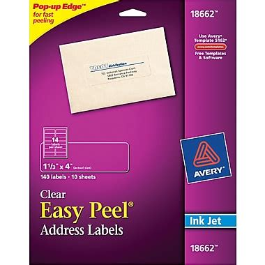 printable labels at staples avery 1 33 quot x 4 quot inkjet easy peel address labels clear