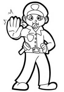 police officer with whistle coloring page netart