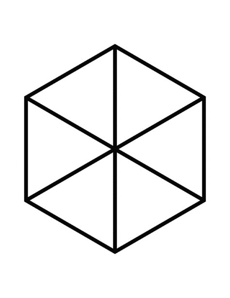 fractions of 6 sided polygon clipart etc
