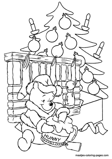 pooh bear christmas coloring pages festival collections