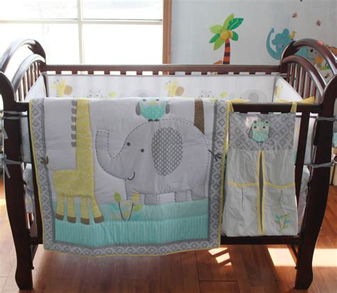Bedding Sets For Nursery 8 Pc Crib Infant Room Baby Bedroom Set Nursery Bedding Blue Grey Elephant Cot Bedding Set