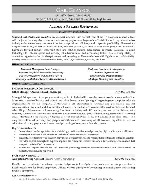 accounts payable resume exles accounts payable manager resume the letter sle