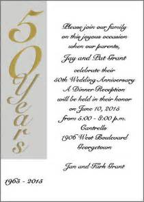 wedding invitation wording 50th wedding anniversary invitation cards sles