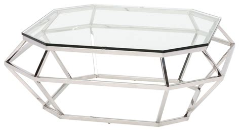 silver metal and glass coffee table clear glass and silver metal square coffee table