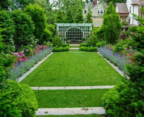 Rectangular Garden Ideas The Formal Rectangular Lawn Anchors The Viewing Garden With Colorful Planting Accents And The