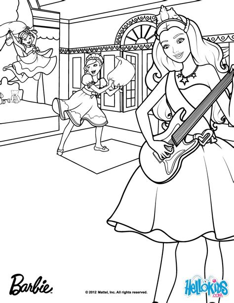 barbie popstar coloring pages tori plays the guitar coloring pages hellokids com