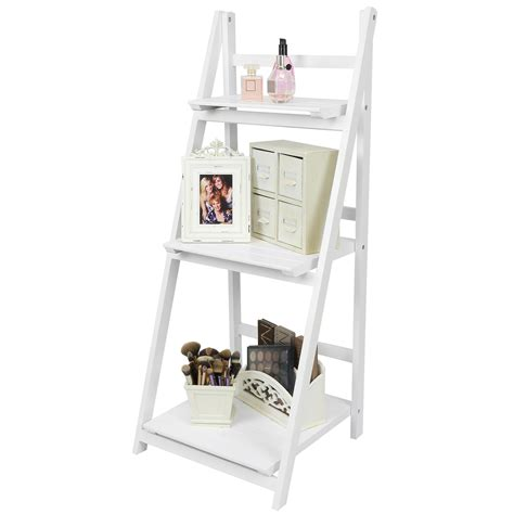 bedroom display shelves hartleys white 3 tier folding ladder storage home display