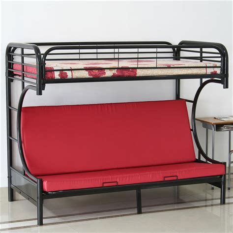 twin over futon bunk bed twin over futon metal frame bunk bed in black by futonz to