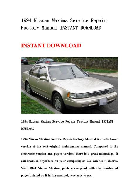 1994 nissan maxima service repair factory manual instant download by hsdgbsheb issuu