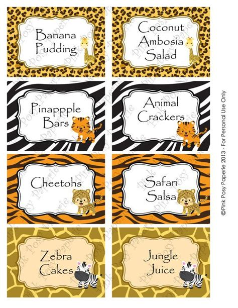 Printable Jungle Labels   printable safari baby shower food labels chips and salsa